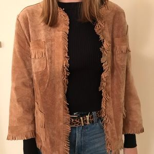 Suede leather jacket Chico's saddle tan size 1